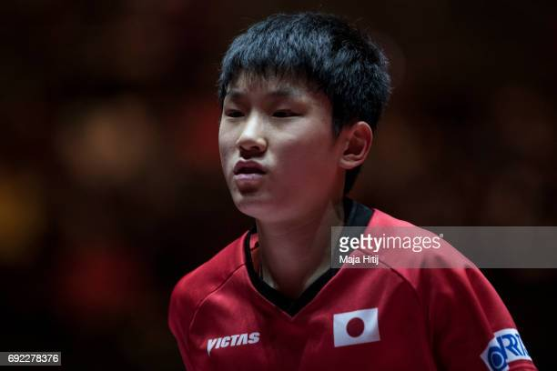 Tomokazu Harimoto of Japan reacts during Men's Singles quarter Final at Table Tennis World Championship at at Messe Duesseldorf on June 4 2017 in...