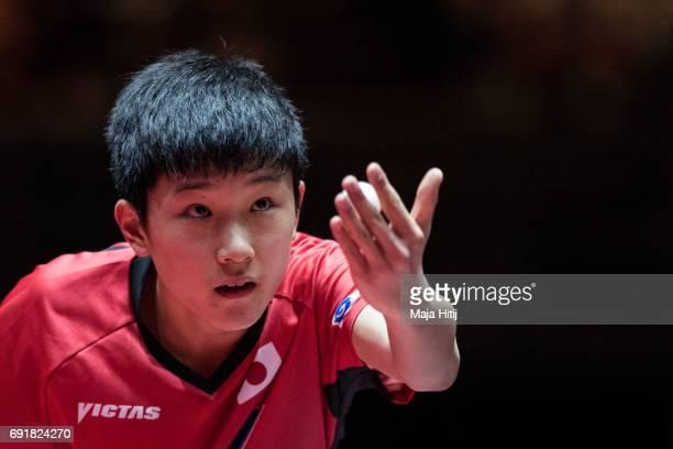 Tomokazu Harimoto serves during Men's Singles eightfinals at Table Tennis World Championship at Messe Duesseldorf on June 3 2017 in Dusseldorf Germany