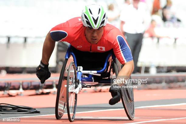 Tomoki Ikoma of Japan competes in the Men's 200m T54 round 1 during Day Five of the IPC World ParaAthletics Championships 2017 London at London...