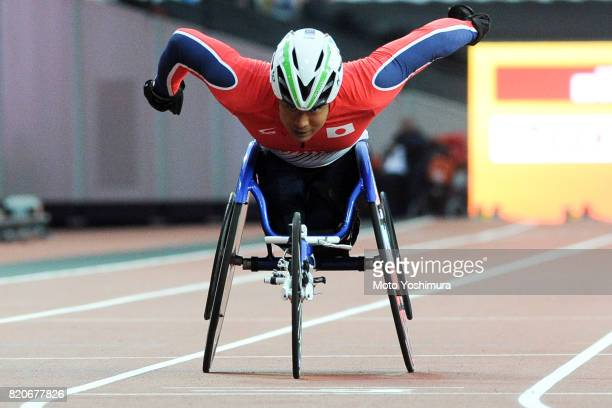 Tomoki Ikoma of Japan competes in the Men's 400m T54 round 1 during day six of the IPC World ParaAthletics Championships 2017 at London Stadium on...