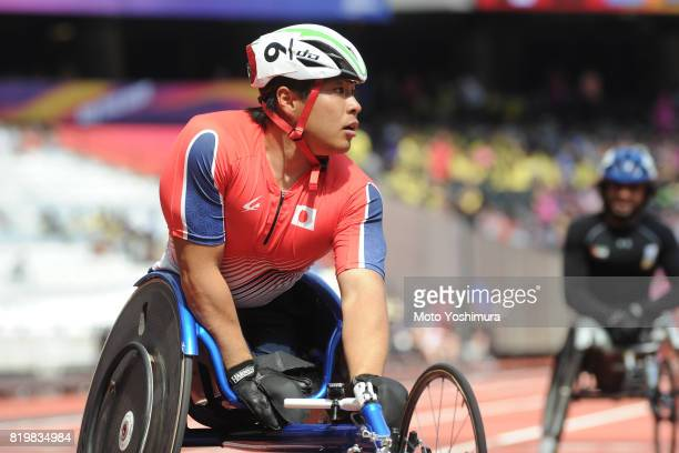 Tomoki Ikoma of Japan reacts after competing in the Men's 200m T54 round 1 during Day Five of the IPC World ParaAthletics Championships 2017 London...