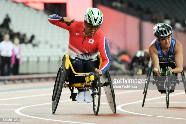 Tomoki Sato of Japan celebrates winning the gold medal after competing in the Men's 400m T52 during day five of the IPC World ParaAthletics...