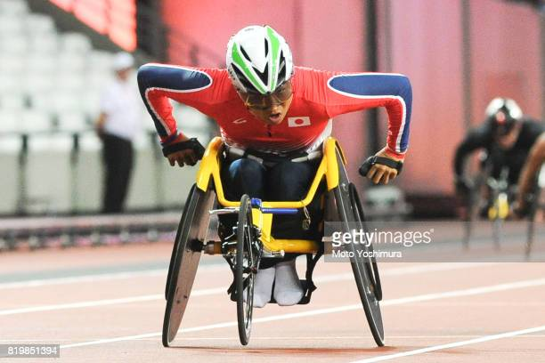 Tomoki Sato of Japan competes in the Men's 400m T52 during day five of the IPC World ParaAthletics Championships 2017 at London Stadium on July 18...