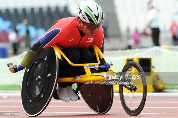 Tomoki Sato of Japan competes in the Men's 400m T52 round 1 during Day Five of the IPC World ParaAthletics Championships 2017 London at London...