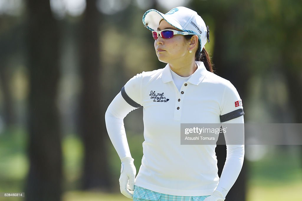 Tomoko Yokoyama of Japan looks on during the first round of the World Ladies Championship Salonpas Cup at the Ibaraki Golf Club on May 5, 2016 in Tsukubamirai, Japan.