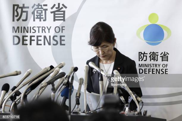 Tomomi Inada Japan's defense minister bows as she leaves a news conference at the Ministry of Defense in Tokyo Japan on Friday July 28 2017...