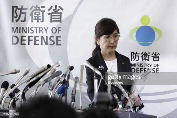 Tomomi Inada Japan's defense minister leaves a news conference at the Ministry of Defense in Tokyo Japan on Friday July 28 2017 Inada quit over a...