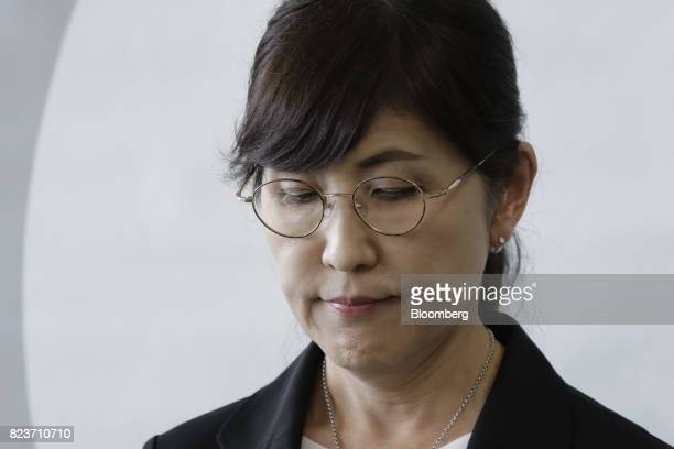 Tomomi Inada Japan's defense minister pauses during a news conference at the Ministry of Defense in Tokyo Japan on Friday July 28 2017 Inada quit...
