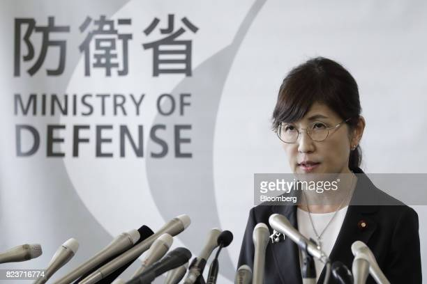Tomomi Inada Japan's defense minister speaks during a news conference at the Ministry of Defense in Tokyo Japan on Friday July 28 2017 Inada quit...