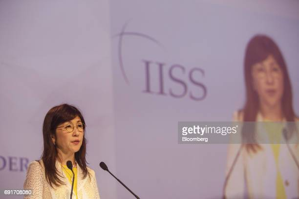 Tomomi Inada Japan's defense minister speaks during the IISS ShangriLa Dialogue Asia Security Summit in Singapore on Saturday June 3 2017 China's...