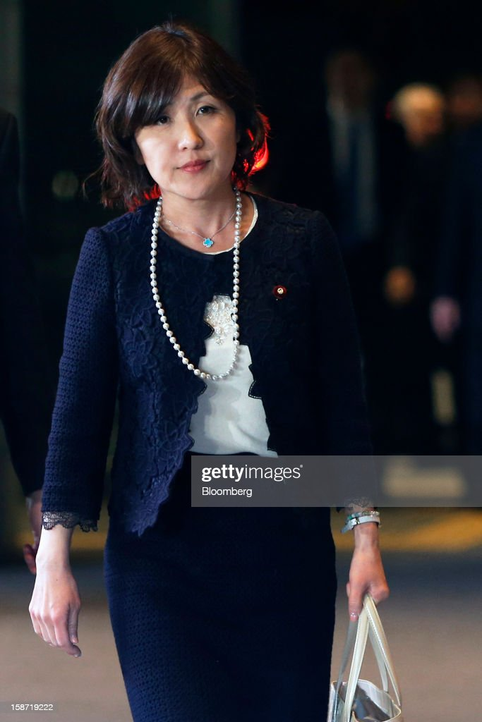 Tomomi Inada, Japan's newly named administrative reform minister, arrives at the prime minister's official residence in Tokyo, Japan, on Wednesday, Dec. 26, 2012. Japan's parliament confirmed Shinzo Abe as the nation's seventh prime minister in six years, returning him to the office he left in 2007 after his party regained power in a landslide election victory last week. Photographer: Kiyoshi Ota/Bloomberg via Getty Images