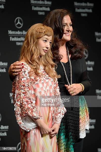 Tomomi Itano and Angela Missoni attend the opening ceremony of Mercedes Benz Fashion Week Tokyo S/S 2014 at Shibuya Hikarie on October 14 2013 in...