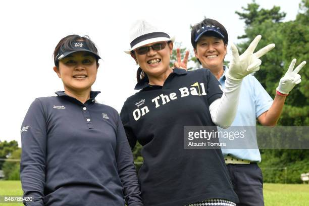Tomomi Masuda Chikako Matsuzawa and Yuko Ogura of Japan pose for photo during the second round of the LPGA Legends Champioship KRY Cup at Shunan...