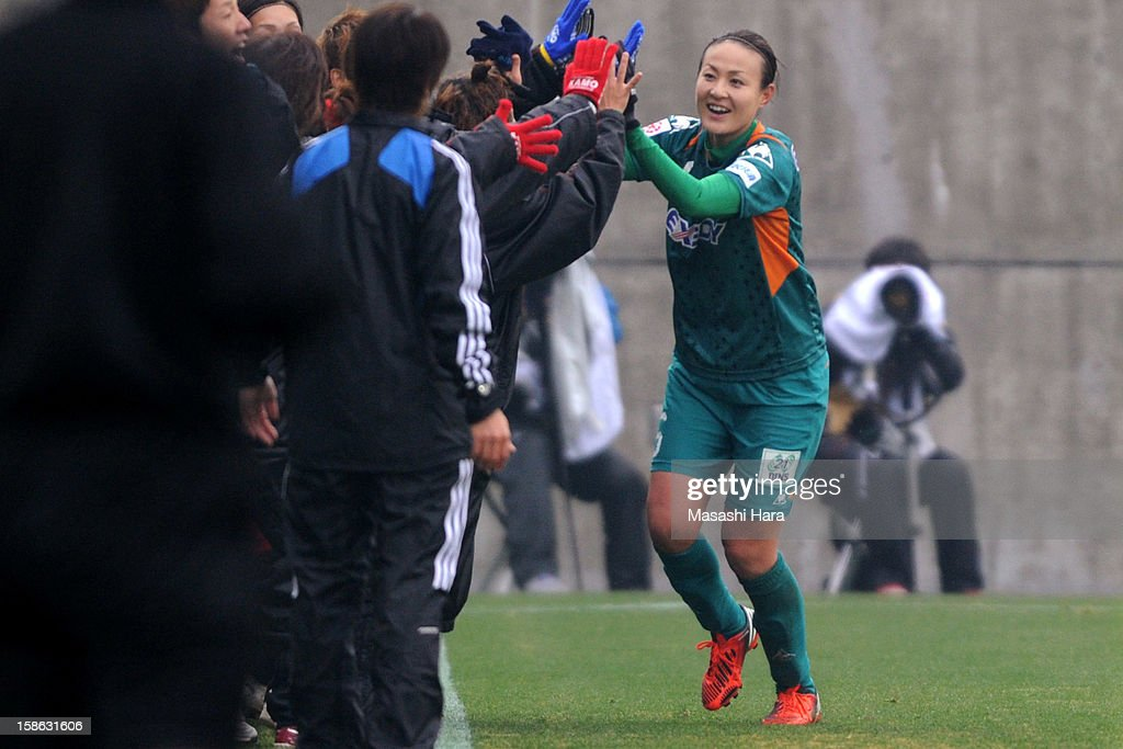 Tomomi Miyamoto #5 of Iga FC Kunoichi celebrates the first goal during the 34th Empress's Cup All Japan Women's Football Tournament semi final match between Iga FC Kunoichi and JEF United Chiba Ladies at Nack 5 Stadium Omiya on December 22, 2012 in Saitama, Japan.