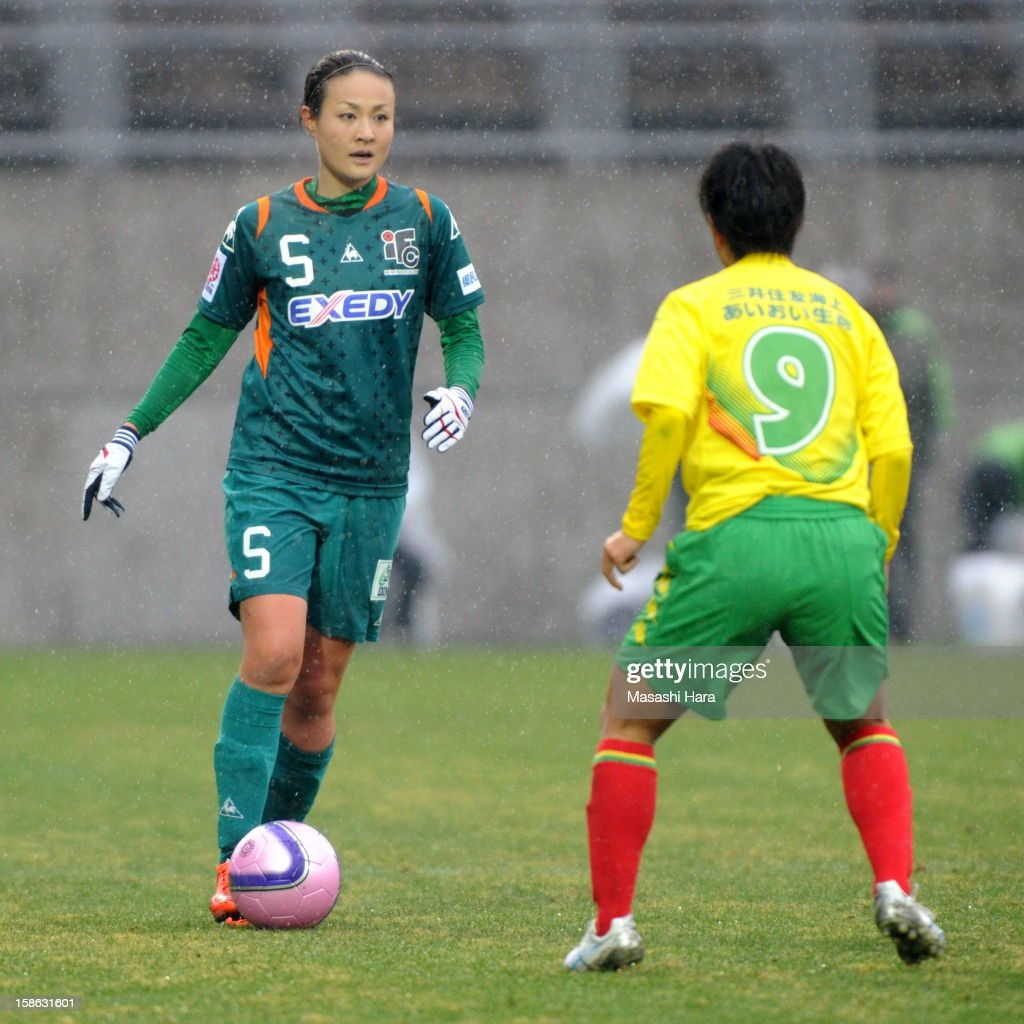Tomomi Miyamoto #5 of Iga FC Kunoichi in action during the 34th Empress's Cup All Japan Women's Football Tournament semi final match between Iga FC Kunoichi and JEF United Chiba Ladies at Nack 5 Stadium Omiya on December 22, 2012 in Saitama, Japan.