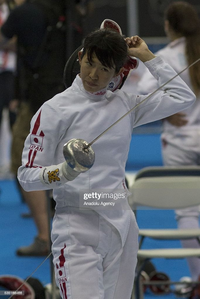 Tomonaga Natsumi from Japan competes in the fencing at the mixed relay World Championship in modern pentathlon in Olympic Sports Complex in Moscow, Russia, on May 29, 2016.