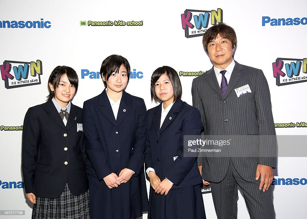 Tomoru Kameoka Miku Komatsu Rie Ajima and Anako Kishinami Best Wintness Award Winners attend the 25th Anniversary of Kid Witness News at the 2014...
