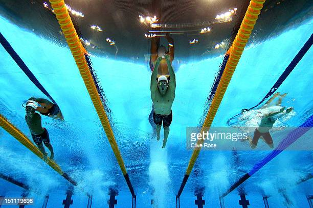 Tomotaro Nakamura of Japan Blake Cochrane of Australia and Matthew Levy of Australia compete in the Men's 100m Breaststroke SB7 Final on day 3 of the...