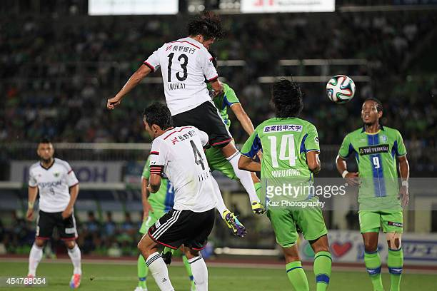 Tomoya Inukai of Matsumoto Yamaga scores his team's first goal during the JLeague second division match between Shonan Bellmare and Matsumoto Yamaga...
