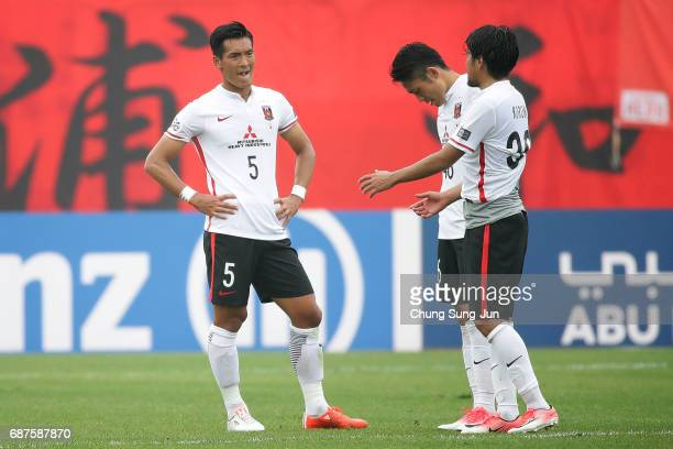 Tomoya Makino of Urawa Red Diamonds reacts after the AFC Champions League Round of 16 match between Jeju United FC and Urawa Red Diamonds at Jeju...