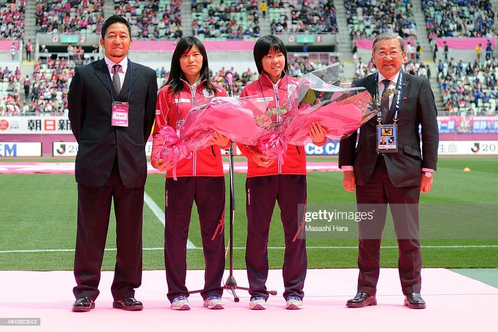 Tomoya Takehana coach of Cerezo Osaka Sakai Ladies Meika Nishida and Shiho Matsubara members of FIFA U17 Women's World Cup and Masao Okano president...