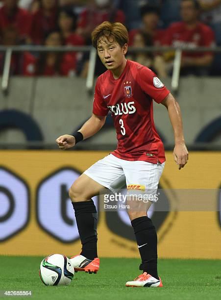 Tomoya Ugajin of Urawa Red Diamonds in action during the JLeague match between Urawa Red Diamonds and Ventforet Kofu at Saitama Stadium on July 29...