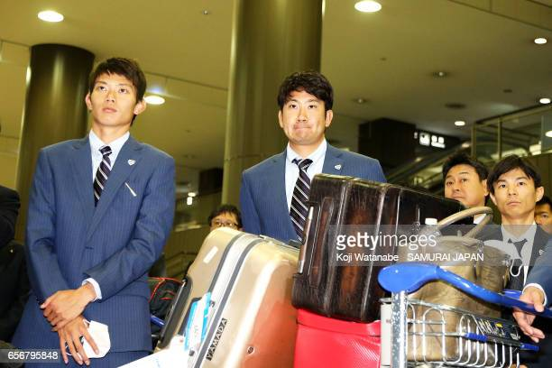 Tomoyuki Sugano of Japan is seen on arrival at Narita International Airport on March 23 2017 in Narita Chiba Japan