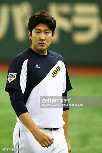 Tomoyuki Sugano of Japan looks on a training session at the Tokyo Dome on November 20 2015 in Tokyo Japan