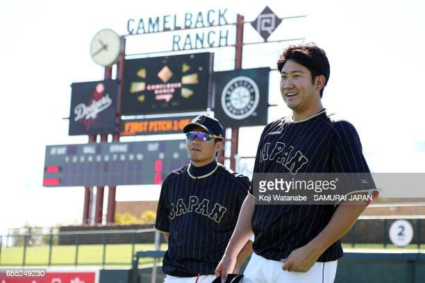 Tomoyuki Sugano of Japan looks on during the exhibition game between Japan and Los Angeles Dodgers at Camelback Ranch on March 19 2017 in Glendale...
