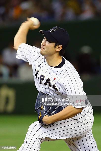Tomoyuki Sugano of Japan pitches in the top half of sixth inning during the WBSC Premier 12 third place play off match between Japan and Mexico at...