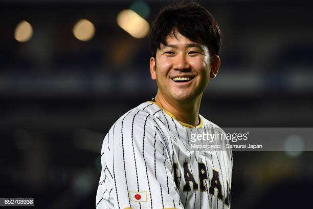 Tomoyuki Sugano of Japan smiles on the practice day during the World Baseball Classic at the Tokyo Dome on March 13 2017 in Tokyo Japan