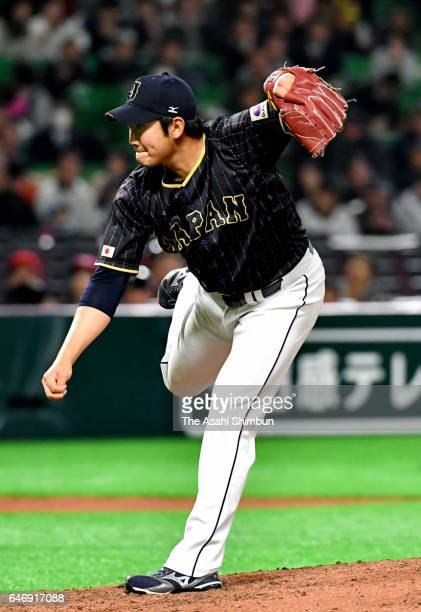 Tomoyuki Sugano of Japan throws during the SAMURAI JAPAN Sendoff Friendly Match between CPBL Selected Team and Japan at the Yafuoku Dome on March 1...