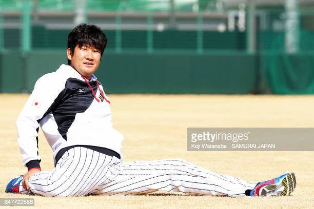 Tomoyuki Sugano of SAMURAI JAPAN in action during on the practice day prior to the World Baseball Classic at on March 4 2017 in Osaka Japan