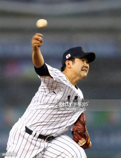 Tomoyuki Sugano of Team Japan pitches during Game 2 of the Championship Round of the 2017 World Baseball Classic against Team USA on Tuesday March 21...