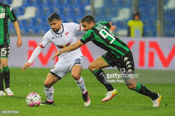 Tomás Eduardo and Rincón Hernández with André Grégoire Defrel Sassuolo's forward of French nationality during the Serie A football match between US...