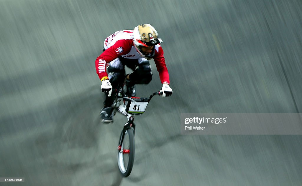 Toms Mankus of Latvia competes in the Elite Mens time trial during day four of the UCI BMX World Championships at Vector Arena on July 27, 2013 in Auckland, New Zealand.