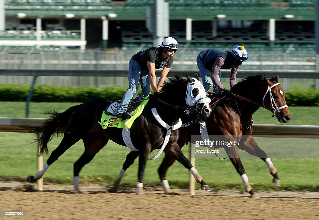 Tom's Ready runs on the track during morning training for the 2016 Kentucky Derby at Churchill Downs on April 29, 2016 in Louisville, Kentucky.