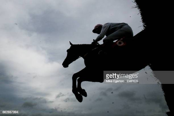 Tom's Toybox ridden by Fergus King jumps a fence during the Go Racing In Yorkshire Summer Festival Novices' Handicap Chase