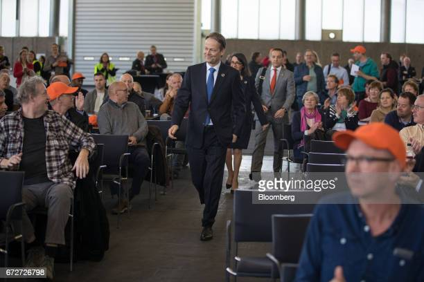 Ton Buechner chief executive officer of Akzo Nobel NV arrives to speak to employees ahead of a shareholders' meeting in Amsterdam Netherlands on...