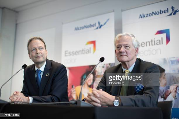 Ton Buechner chief executive officer of Akzo Nobel NV left and Antony Burgmans chairman of Akzo Nobel NV look on during a news conference in...