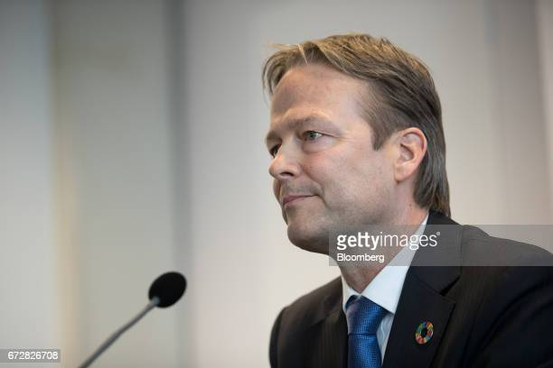 Ton Buechner chief executive officer of Akzo Nobel NV looks on during a news conference in Amsterdam Netherlands on Tuesday April 25 2017 Akzo...