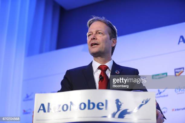 Ton Buechner chief executive officer of Akzo Nobel NV speaks during a news conference in London UK on Wednesday April 19 2017 Akzo Nobel battling an...