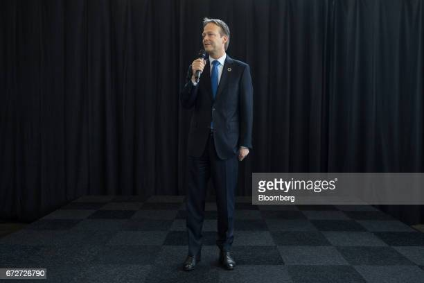 Ton Buechner chief executive officer of Akzo Nobel NV speaks to employees ahead of a shareholders' meeting in Amsterdam Netherlands on Tuesday April...