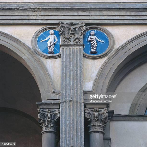 Tondoes of the facade of the Spedale degli Innocenti in Florence by Andrea Della Robbia 15th Century glazed terracotta