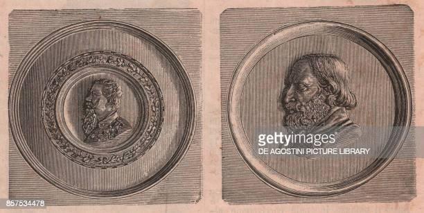 Tondos with effigies of Vittorio Emanuele II and Giuseppe Garibaldi Cento Emilia Romagna Italy woodcut from Le cento citta d'Italia illustrated...
