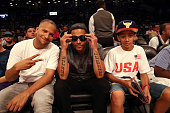 Tone and Tru Life attend the 2016 Roc Nation Summer Classic Charity Basketball Tournament at Barclays Center of Brooklyn on July 21 2016 in New York...