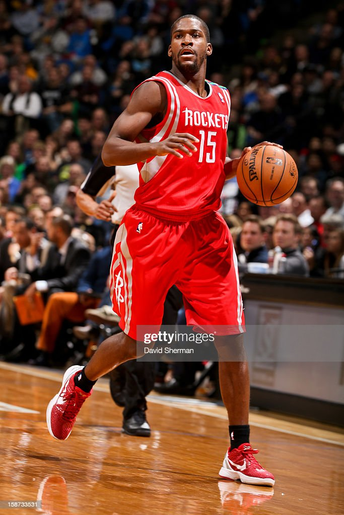 Toney Douglas #15 of the Houston Rockets brings the ball up court against the Minnesota Timberwolves on December 26, 2012 at Target Center in Minneapolis, Minnesota.