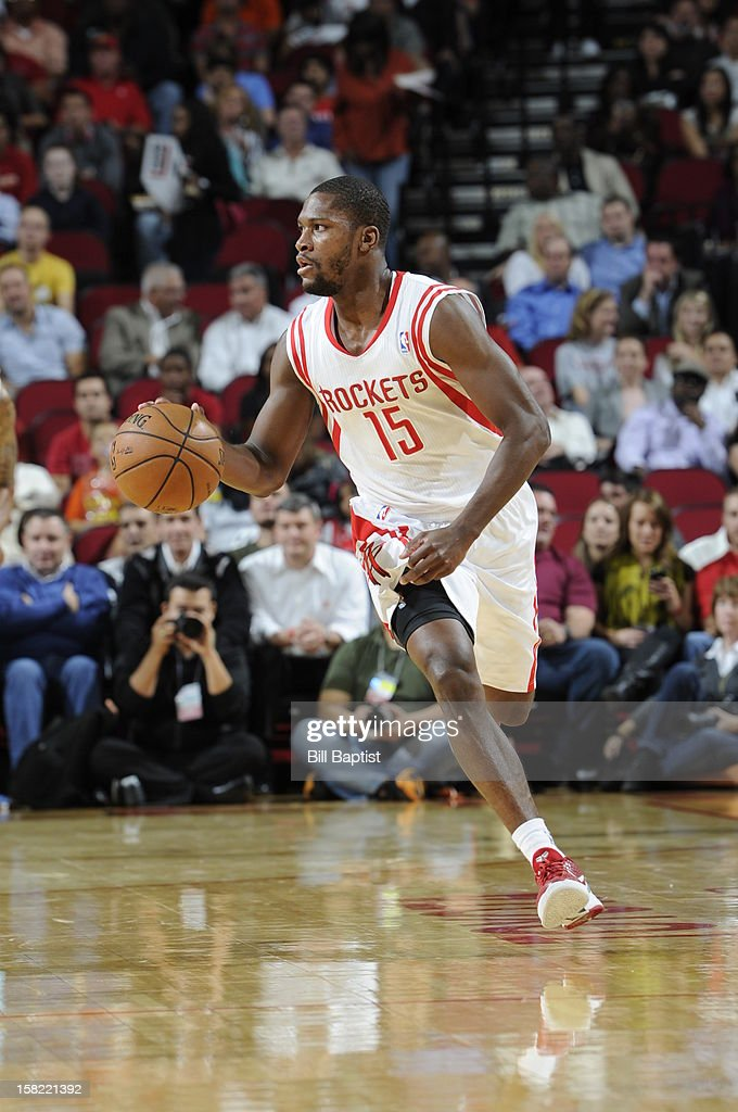 Toney Douglas #15 of the Houston Rockets dribbles the ball upcourt against the Denver Nuggets on November 7, 2012 at the Toyota Center in Houston, Texas.