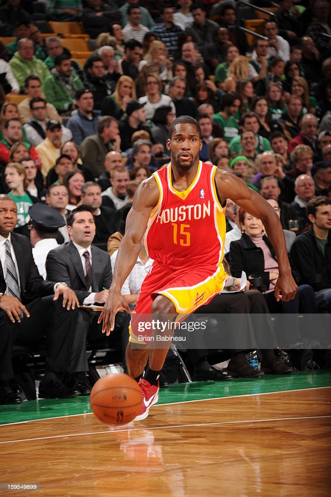 Toney Douglas #15 of the Houston Rockets drives against the Boston Celtics on January 11, 2013 at the TD Garden in Boston, Massachusetts.
