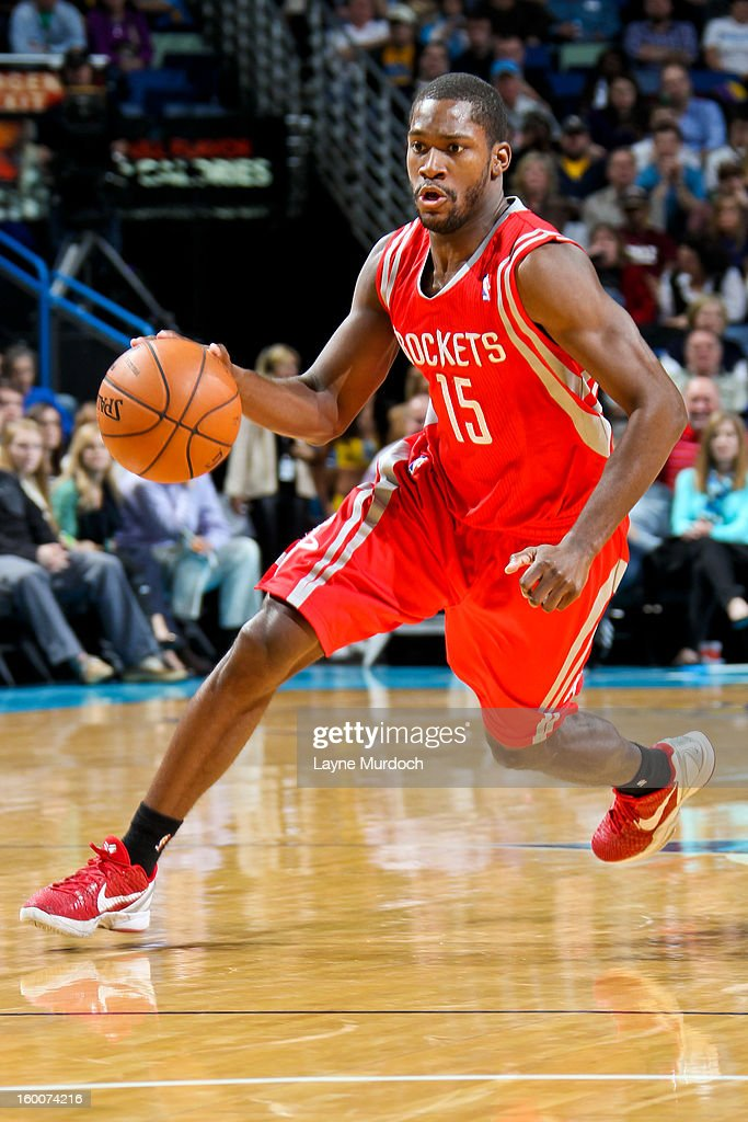 <a gi-track='captionPersonalityLinkClicked' href=/galleries/search?phrase=Toney+Douglas&family=editorial&specificpeople=2536966 ng-click='$event.stopPropagation()'>Toney Douglas</a> #15 of the Houston Rockets drives against the New Orleans Hornets on January 25, 2013 at the New Orleans Arena in New Orleans, Louisiana.